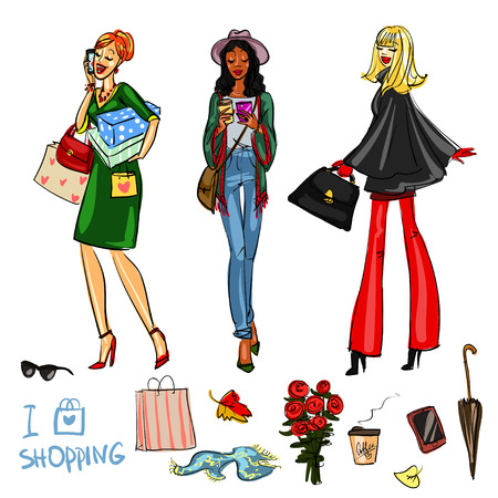 lady: Beautiful women with shopping bags, phones and coffee