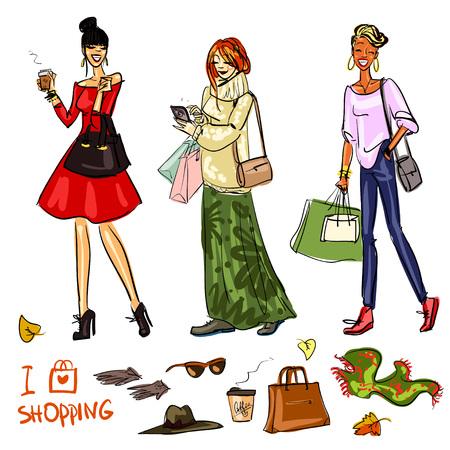 Hermosas mujeres con bolsas de la compra, teléfonos y café Foto de archivo - 44977759