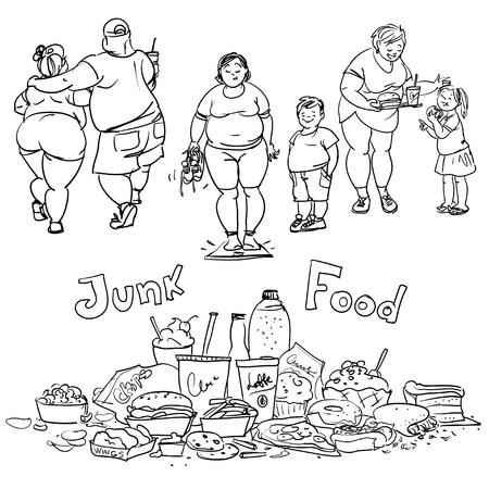 obesidad: La comida chatarra y las personas obesas. Colección de dibujos animados dibujados mano Vectores