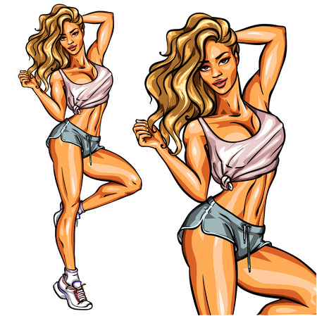 pin up: Beautiful fit woman posing and showing her body Illustration