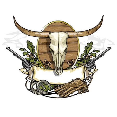 wildlife shooting: Wild west label with longhorn skull isolated on white Illustration