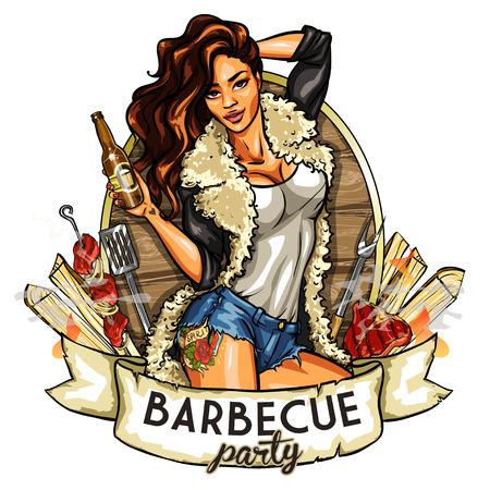 Barbecue label met mooie vrouw die bier, geïsoleerd op wit Stock Illustratie