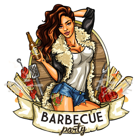 fur coat: Barbecue label with pretty woman holding beer, isolated on white