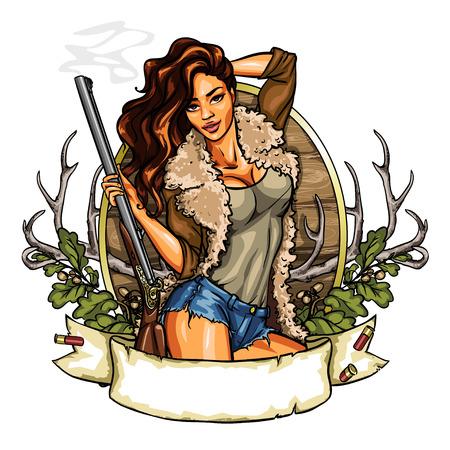 cazador: Etiqueta de caza con una mujer bonita celebración de tiro del arma, aislado en blanco Vectores
