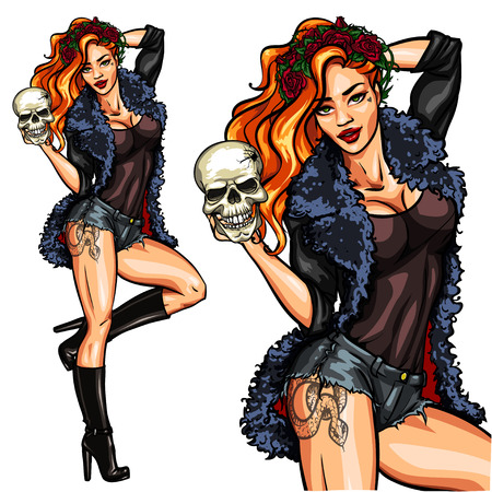 chica sexy: Bruja bonita que sostiene un cráneo. De Halloween Pin Up, aislado.