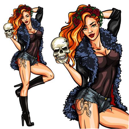 fille sexy: Jolie sorcière tenant un crâne. Pin Up Halloween, isolé.