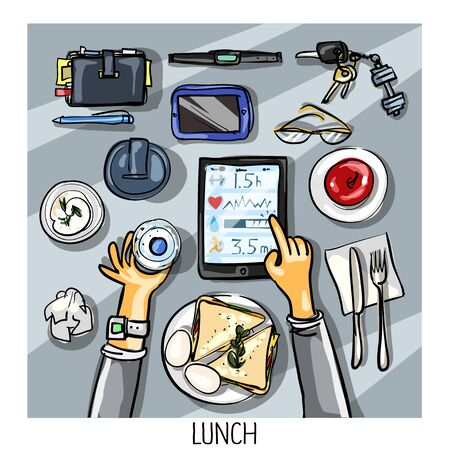 intake: Top view background - person with tablet having lunch