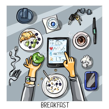 intake: Top view background - person with tablet having breakfast Illustration