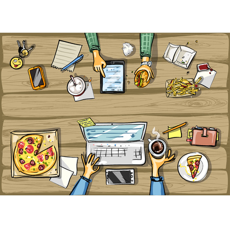 small business computer: Top view background - person with tablet having lunch