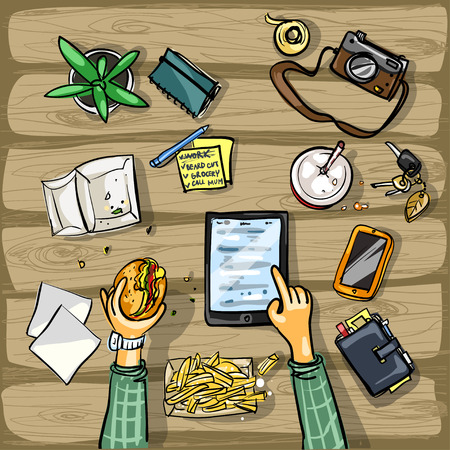 Top view background - person with tablet having lunch