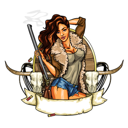 Hunting label with pretty woman holding shot gun, isolated on white