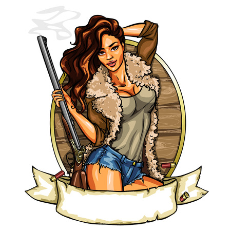 aiming: Hunting label with pretty woman holding shot gun, isolated on white