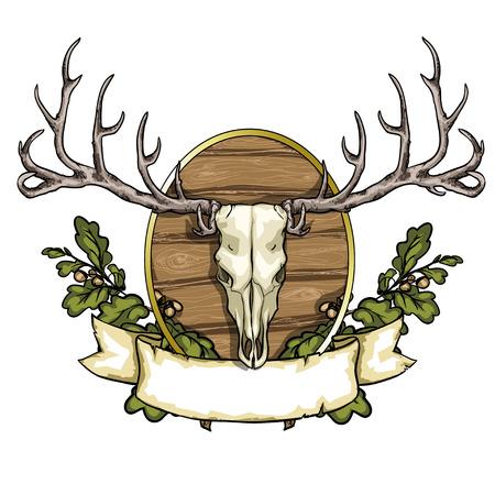 deer skull: Hunting label with deer skull isolated on white