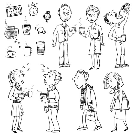 waking: Collection of funny people struggling in morning without coffee
