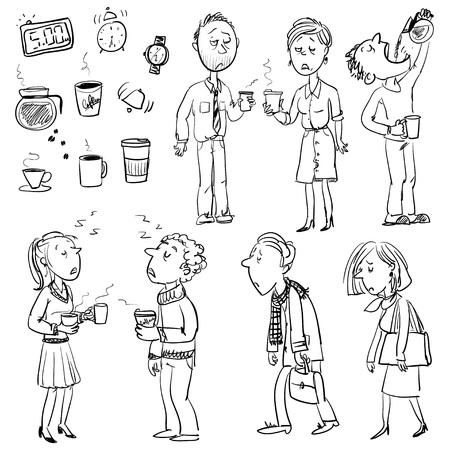 Verzameling van grappige mensen die worstelen in de ochtend zonder koffie