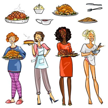 femme dessin: Jolies femmes au foyer avec les repas, isolé sur blanc Banque d'images