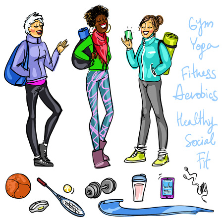 self improvement: Set of pretty women chatting before-after yoga or fitness classes Illustration