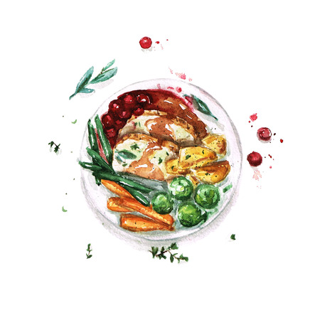 food: Feast Meal - Watercolor Food Collection Stock Photo