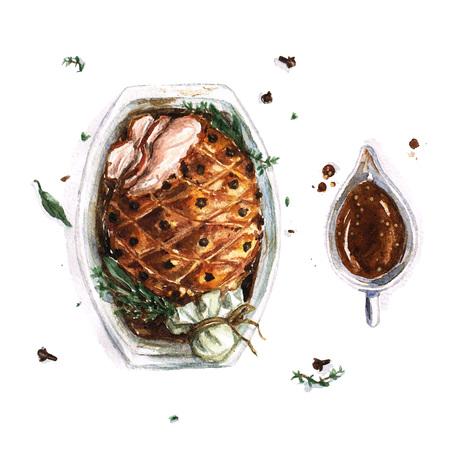 roast pork: Pork Roast - Watercolor Food Collection