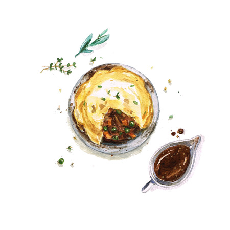 Beef Pie - Watercolor Food Collection
