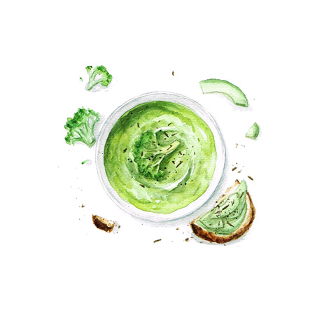 ブロッコリーのスープ - 水彩画フード コレクション