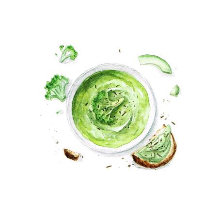 Sopa de brócoli - Colección de alimentos de acuarela Foto de archivo