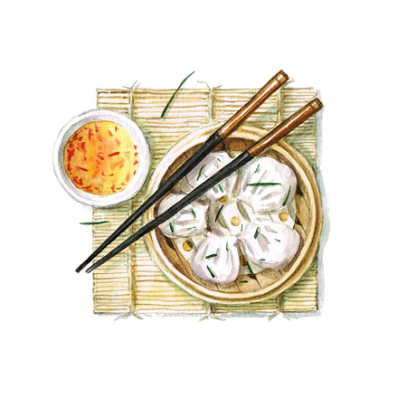 chinese watercolor: Dumplings - Watercolor Food Collection