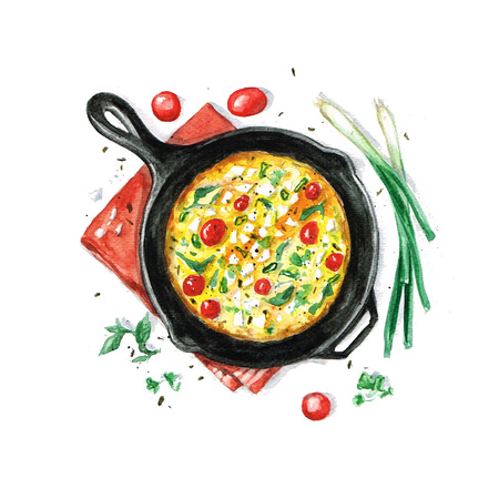 gourmet food: Fritata - Watercolor Food Collection Stock Photo