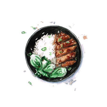 chicken rice: Rice and Chicken - Watercolor Food Collection