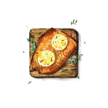 salmon: Salmon on plank - Watercolor Food Collection Stock Photo