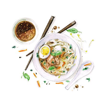 フォーのスープ - 水彩画フード コレクション