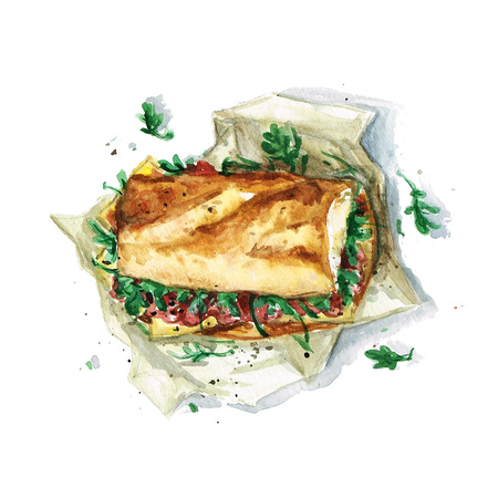 ham sandwich: Sandwich - Watercolor Food Collection