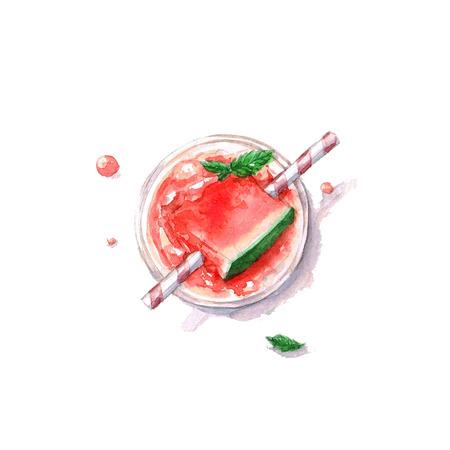 Watermelon Cocktail - Aquarelle Food Collection Banque d'images - 51397736