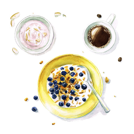 朝食 - 水彩画フード コレクション