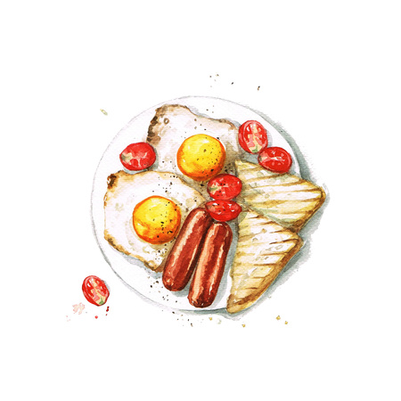eat healthy: Breakfast - Watercolor Food Collection