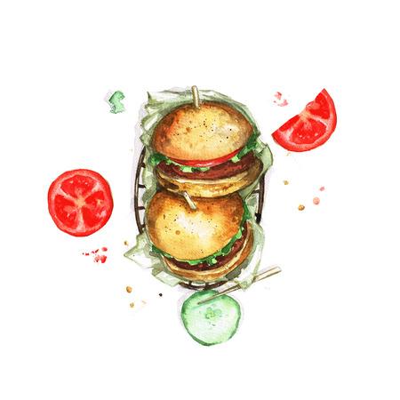 top menu: Burgers - Watercolor Food Collection Stock Photo