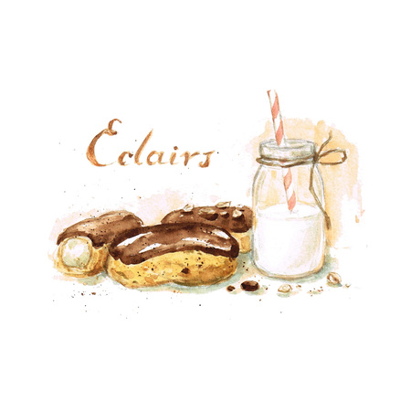 eclair: Eclairs - Watercolor Food Collection