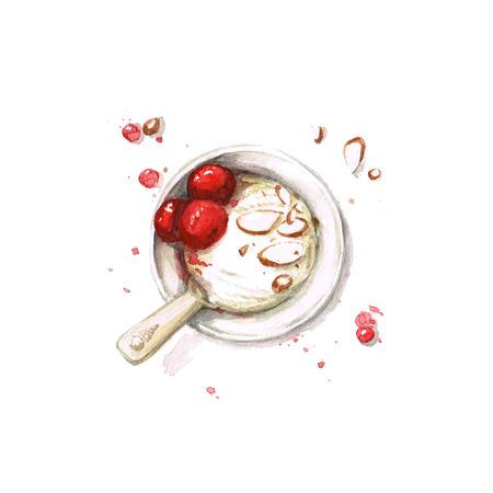 ice cream scoop: Ice Cream - Watercolor Food Collection Stock Photo