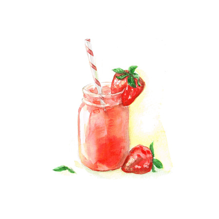 Strawberry Cocktail - Aquarelle Food Collection Banque d'images - 51397826