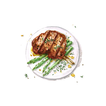 Agneau Rib - Aquarelle Food Collection Banque d'images - 51397836