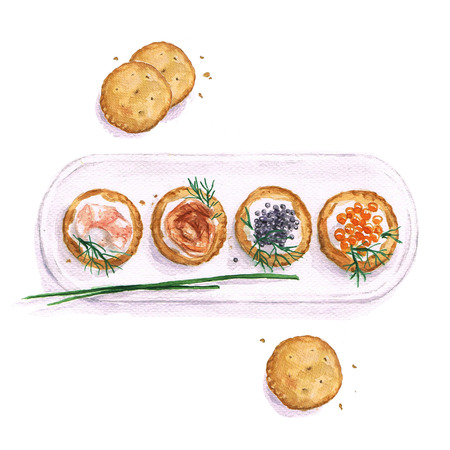appetizers: Seafood snacks - Watercolor Food Collection