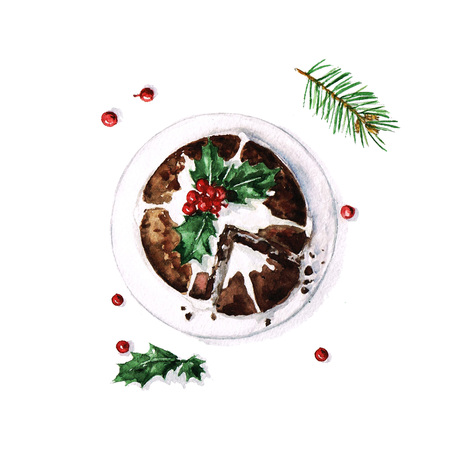 christmas cake: Christmas Pudding - Watercolor Food Collection Stock Photo