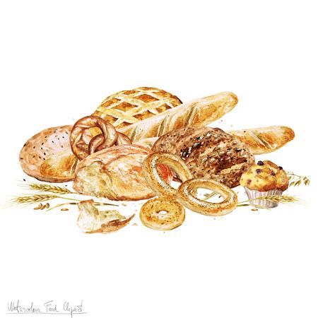 Aquarell Lebensmittel Clipart - Backen. Isoliert
