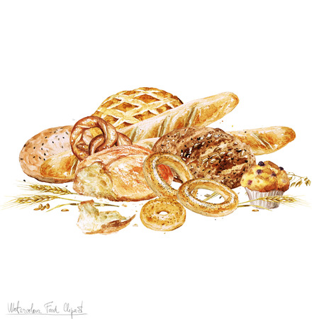 carbohydrates: Watercolor Food Clipart - Baking. Isolated Stock Photo