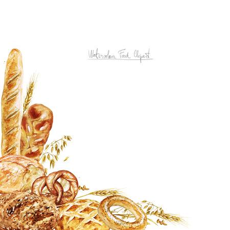 Watercolor Border - Bread Banco de Imagens - 52737762