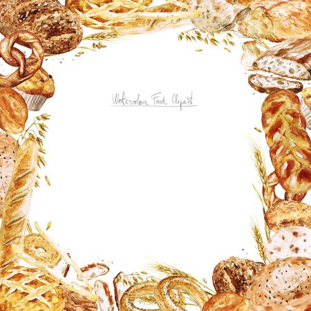 수채화 테두리 - 빵