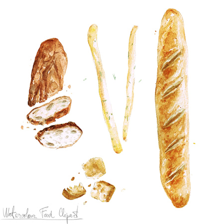 Watercolor Food Clipart - Baking. Isolated Stock fotó