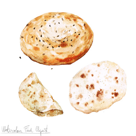 food clipart: Watercolor Food Clipart - Baking. Isolated Stock Photo