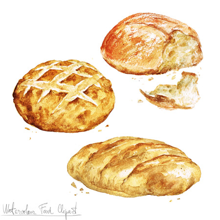 Watercolor Food Clipart - Baking. Isolated Banco de Imagens