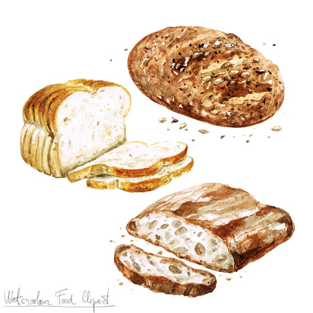 toast bread: Watercolor Food Clipart - Baking. Isolated Stock Photo